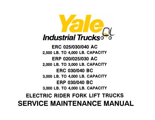 Yale ERC 025-030-040 AC, ERP 020-025-030 AC, ERC 030-040