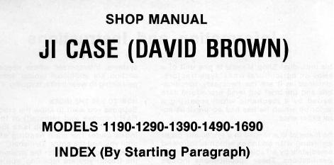 David Brown 1190 1290 1390 1490 1690 Tractor Service