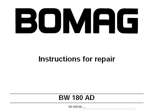 Bomag BW 180 AD Tandem Vibratory Roller Service Repair