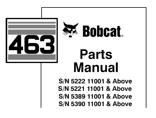 Bobcat 463 Skid Steer Loader Parts Manual