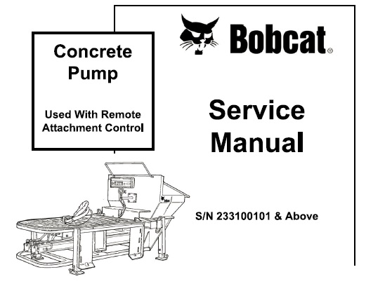 Bobcat Concrete Pump Service Repair Workshop Manual #1