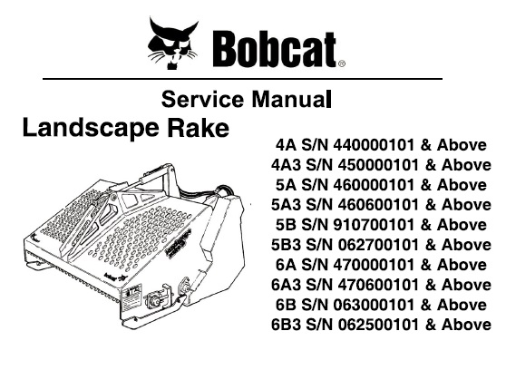 Bobcat Landscape Rake Service Repair Manual