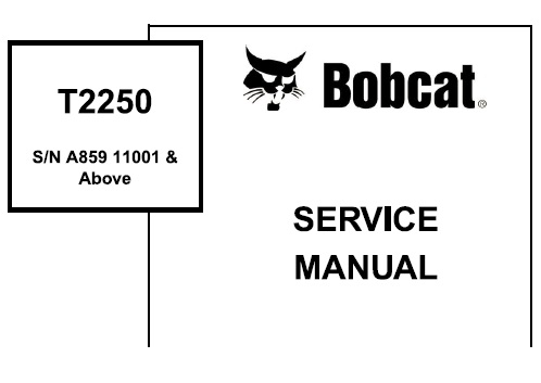 Bobcat T2250 Telescopic Handler Service Repair Manual (S/N