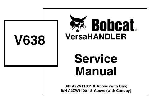 Bobcat V638 VersaHandler Service Repair Manual (S/N