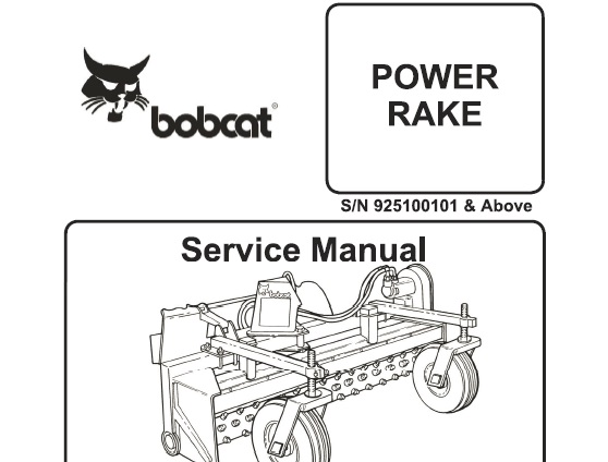 Bobcat Power Rake Workshop Service Repair Manual