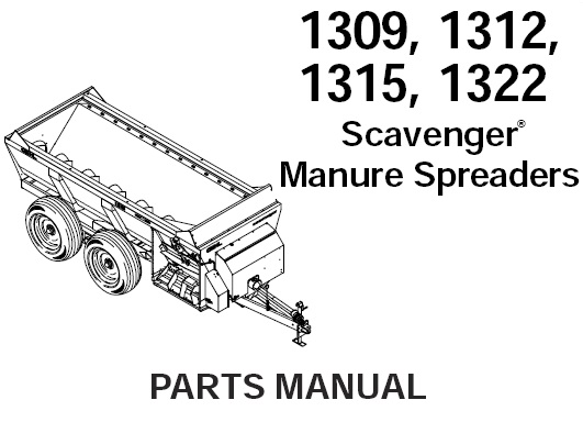 Gehl 1309 1312 1315 1322 Scavenger Manure Spreader Parts