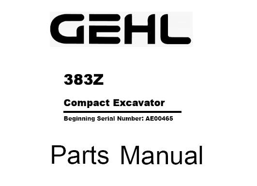 Gehl 383Z Compact Excavator Parts Manual (918195