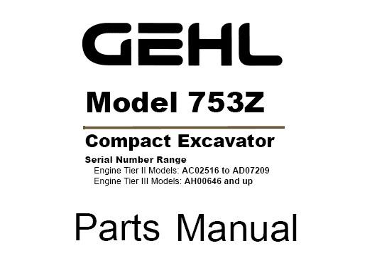 Gehl 753Z Compact Excavator Parts Manual (918075