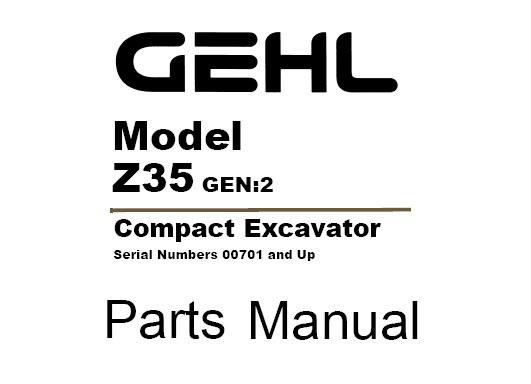 Gehl Z35 (GEN 2) Compact Excavator Parts Manual