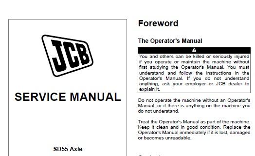 JCB SD55 Axle Service Repair Manual
