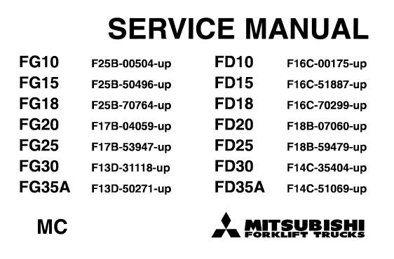 Mitsubishi FD10 FD15 FD18 FD20 FD25 FD30 FD35A, FG10 FG15