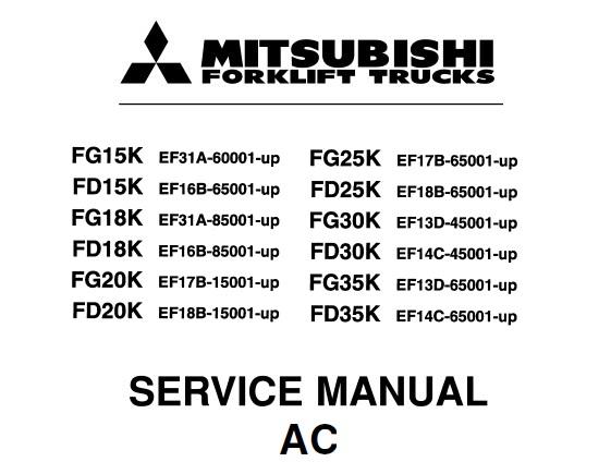 Mitsubishi FD15K FD18K FD20K FD25K FD30 FD35, FG15K, FG18K