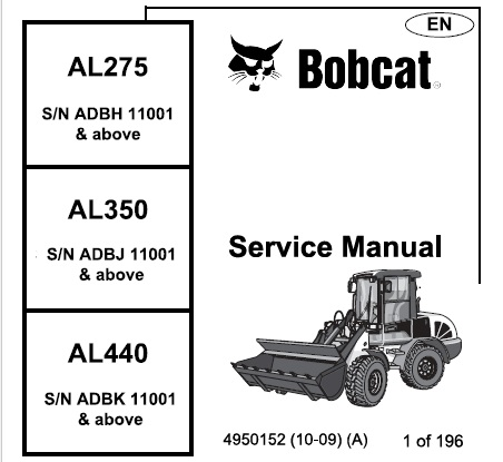 Bobcat AL275, AL350, AL440 Articulated Loader Service