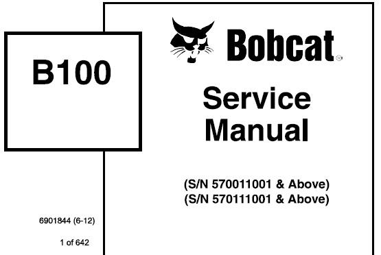 Bobcat B100 Backhoe Loader Service Repair Manual