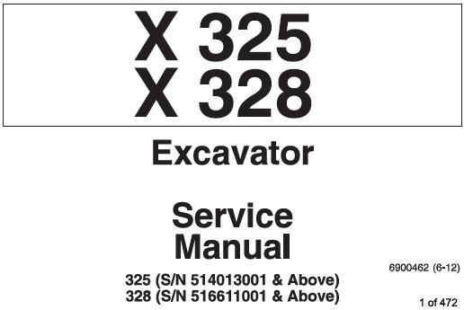 Bobcat X325 , X328 Excavator Service Repair Manual (325