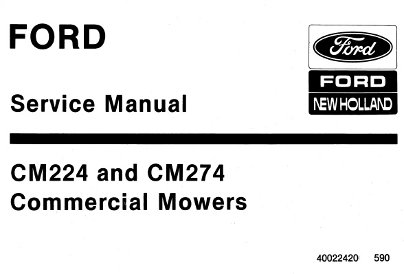 Ford New Holland CM224 and CM274 Commercial Mowers Service