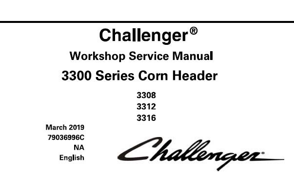Challenger 3308 , 3312 , 3316 Corn Header (3300 Series