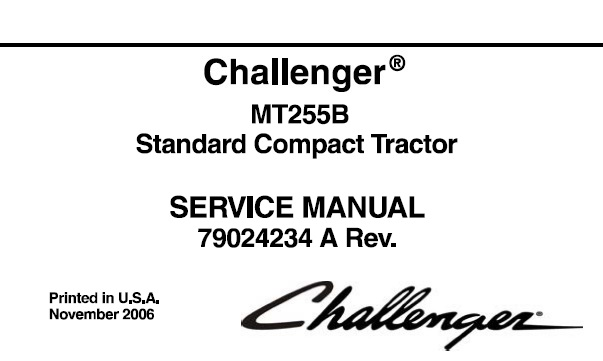 Challenger MT255B Standard Compact Tractor Service Repair