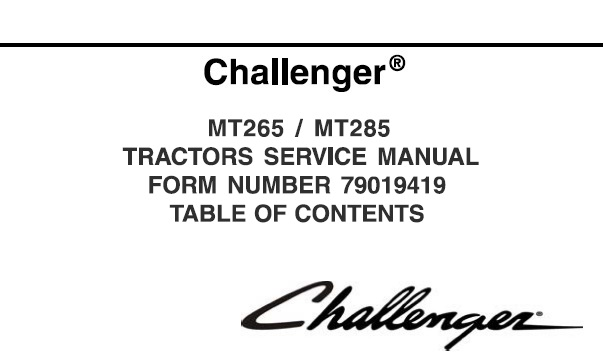 Challenger MT265 , MT285 Standard Compact Tractor Service