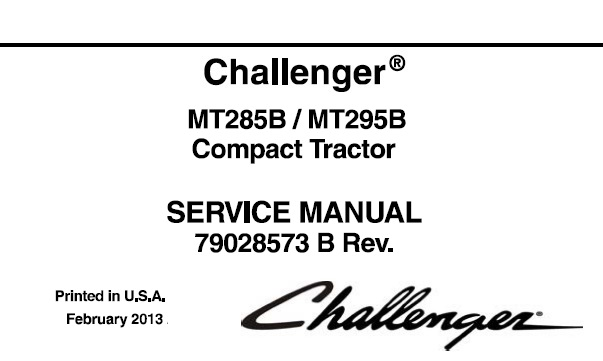 Challenger MT285B , MT295B Compact Tractor Service Repair