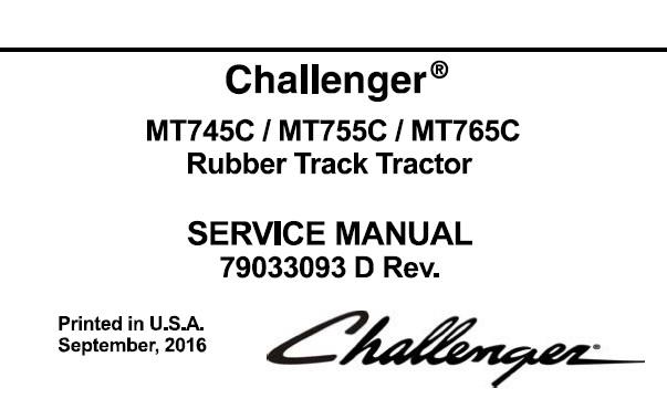 Challenger MT745C, MT755C, MT765C Rubber Track Tractor