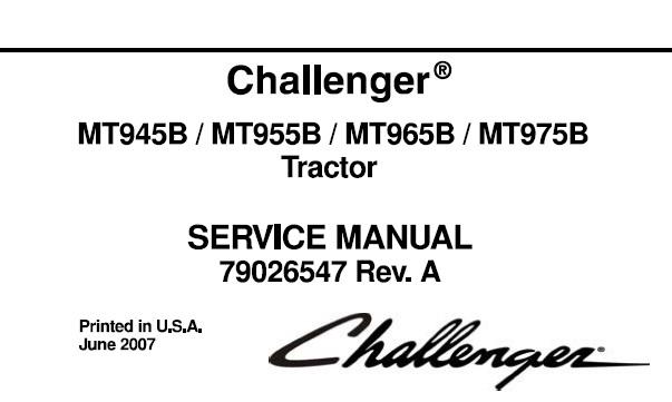Challenger MT945B, MT955B, MT965B, MT975B Tractor Service