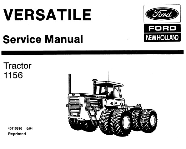 Ford New Holland 1156 Tractors (versatile) Service Repair