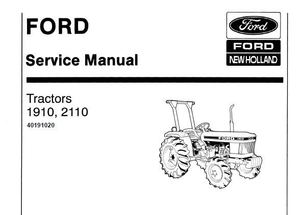 Ford New Holland 1910 , 2110 Tractor Service Repair Manual
