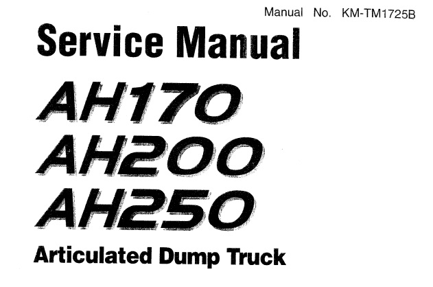 Hitachi AH170 , AH200 , AH250 Articulated Dump Truck
