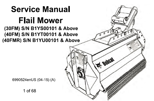 Bobcat 30FM , 40FM , 40FMR Flail Mower Service Repair