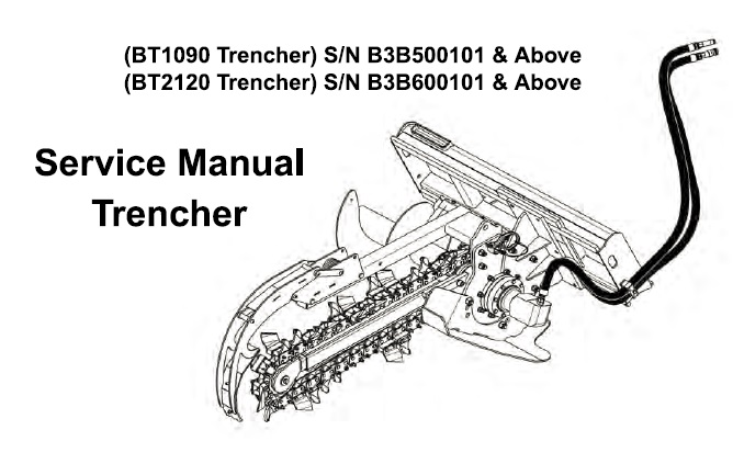 Bobcat BT1090 , BT2120 Trencher Service Repair Manual
