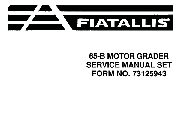Fiat Allis 65-B Motor Grader Service Repair Manual
