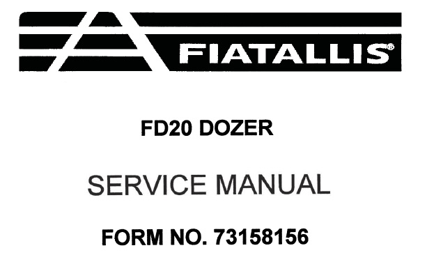 FiatAllis FD20 Crawler Dozer Service Repair Manual