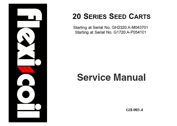 Flexi Coil 20 Series Seed Carts Service Repair Manual