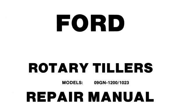 Ford 3HP & 5HP Chain Drive Rotary Tiller Service Repair