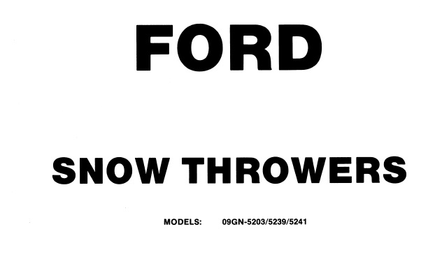 Ford ST320 , ST524 , ST826 Snow Throwers Service Repair