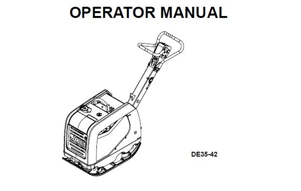 JCB DE35-42 REVERSIBLE PLATE COMPACTOR Operator Manual