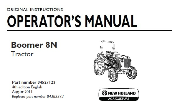 New Holland Boomer 8N Tractor Operator Manual