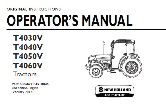 New Holland T4030V , T4040V , T4050V , T4060V Tractor