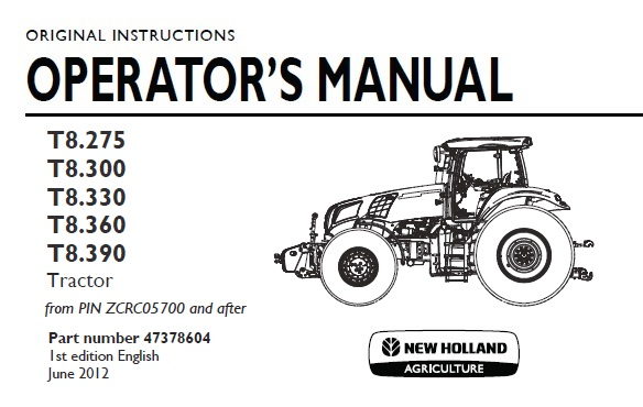 New Holland T8.275 , T8.300 , T8.330 , T8.360 , T8.390