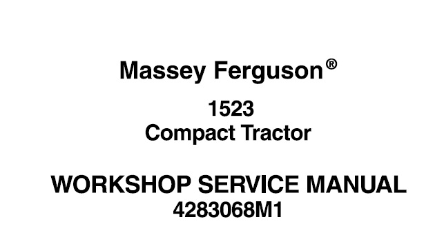 Massey Ferguson 1523 Compact Tractor Service Repair Manual