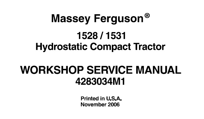 Massey Ferguson 1528 , 1531 Hydrostatic Compact Tractor