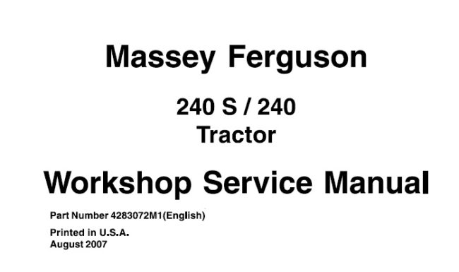 Massey Ferguson 240 , 240S Tractor Workshop Service Manual