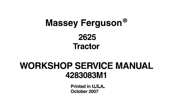 Massey Ferguson 2625 Tractor Workshop Service Manual