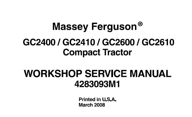Massey Ferguson GC2400 , GC2410 , GC2600 , GC2610 Compact