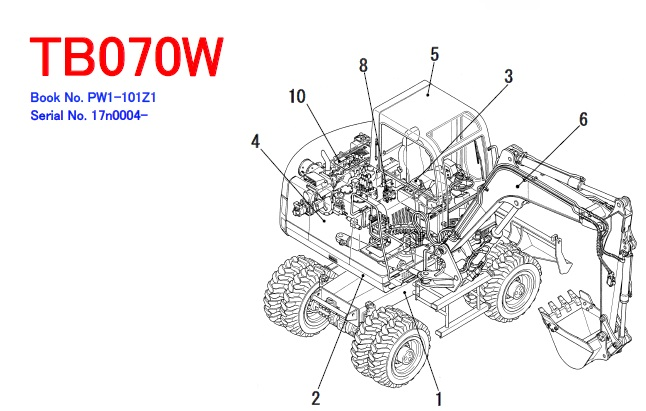 Takeuchi TB070W Hydraulic Excavator Parts Manual