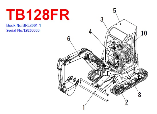 Takeuchi TB128FR Hydraulic Excavator Parts Manual
