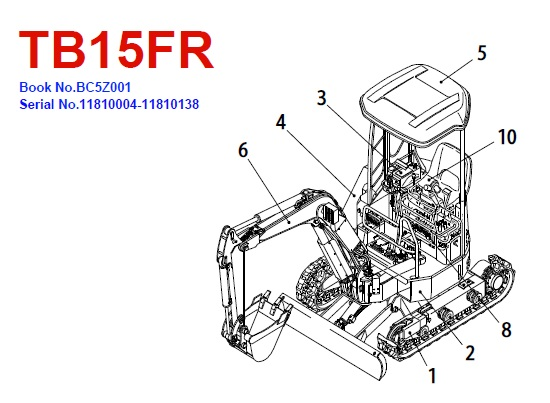 Takeuchi TB15FR Mini Excavator Parts Manual
