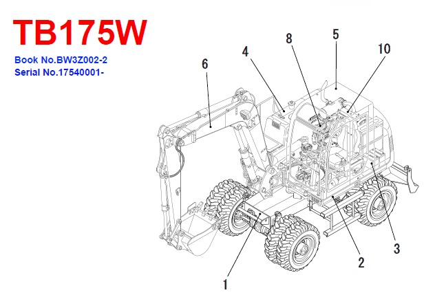 Takeuchi TB175W Hydraulic Excavator Parts Manual #2