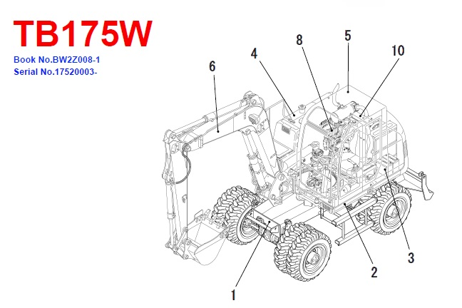 Takeuchi TB175W Hydraulic Excavator Parts Manual